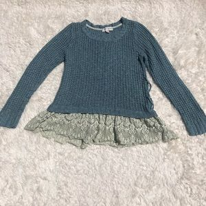 Knox Rose Blue Sweater With Green Tinted Lace